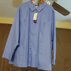 Catherine's Blue Button Down Shirt Size 4X(30/32)